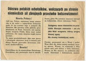 [ulotka niemiecka] Odezwa polskich ochotników, walczących po stronie niemieckich sił zbrojnych przeciwko bolszewizmowi