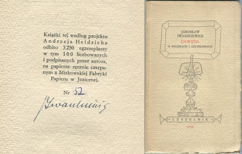 IWASZKIEWICZ Jarosław - Gawęda o książkach i czytelnikach [AUTOGRAF]