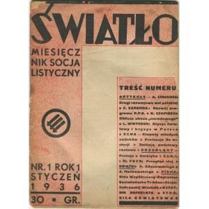 Światło. Miesięcznik socjalistyczny. Rok 1. Numer 1 (styczeń 1936) [Ciołkosz, Zaremba]