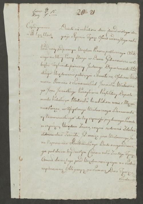 [Kalisz] Akt cesji z Romany z Sieroszewskich Jasińską na jej męża Jana Jasińskiego [1811]