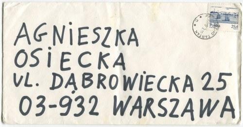 Koperta listu Stanisława Tyma do Agnieszki Osieckiej [odręczne zapiski Osieckiej]
