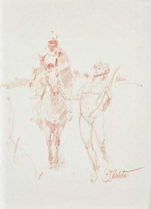 Dariusz KALETA Dariuss (ur. 1960), Szkic mężczyzny na koniu oraz fauna