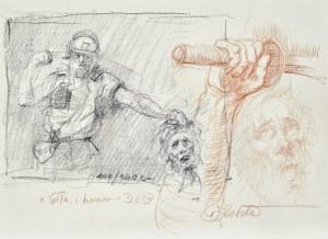 Dariusz KALETA Dariuss (ur. 1960), Szkice luźne żołnierza uderzającego pięścią w głowę, ręki trzymającej miecz oraz głowy starca