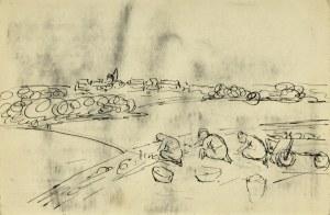 Emil KRCHA (1894-1922), Kobiety pracujące w polu na tle pejzażu