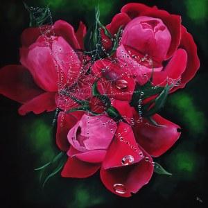 Beata Mura, Rose, akryl na płótnie, 100 x 100 cm, sygn. p.d róg Ryś 2020