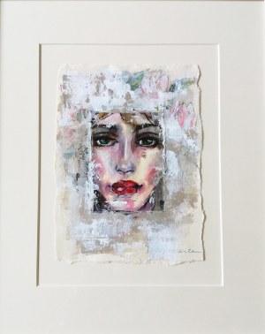 Karina Góra, Dziewczyna w magnoliach, 2020r., akryl na papierze, 49 x 41 cm w oprawie, sygn.p.d Karina Góra
