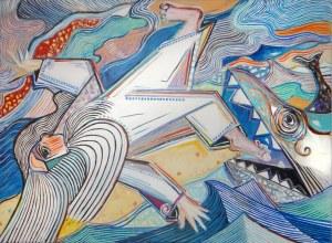 Tomasz Kuran, Podobno o zachodzie wielka ryba wyrzuciła Jonasza na brzeg ,akryl na płótnie, 70 x 100cm, sygn.na odwrociu