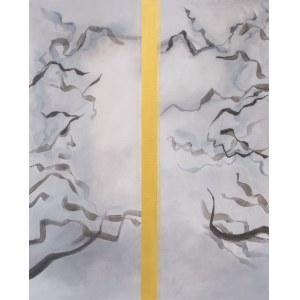 Marta Chudzik, Złoty środek, akryl na płótnie, 100 x 80cm, sygn.na odwrociu