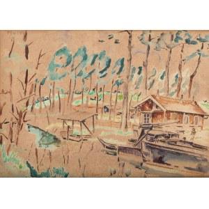 Mela Muter (1876 Warszawa - 1967 Paryż), Pejzaż z domkiem nad jeziorem