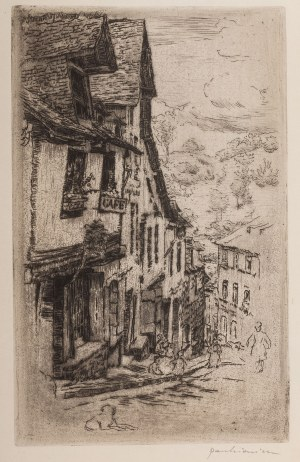 Józef Pankiewicz (1866 Lublin - 1940 Marsylia), Ulica Jerzual w Dinan z psem, 1906