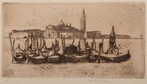 Józef Pankiewicz (1866 Lublin - 1940 Marsylia), La Cours-la-Reine, Rouen - Gondole w Wenecji (dwie kompozycje na jednym arkuszu), 1904