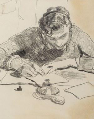 Stanisław Kamocki (1875 Warszawa - 1944 Zakopane), Młody mężczyzna piszący list, ok. 1925
