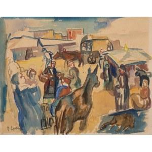 Henryk Epstein (1891 Łódź - 1944 Auschwitz), Rynek Saint-Jean-Pied-de-Port w Pirenejach