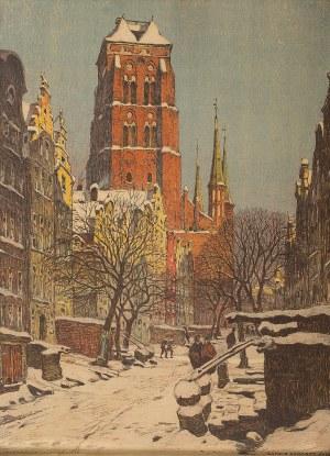Arthur Bendrat (1872 Gdańsk - 1914 Coswig koło Drezna), Widok na Kościół Mariacki, 1906 r.