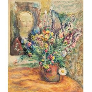 Srzednicki Konrad (1894-1993), Martwa natura z kwiatami i portretem, lata 40.