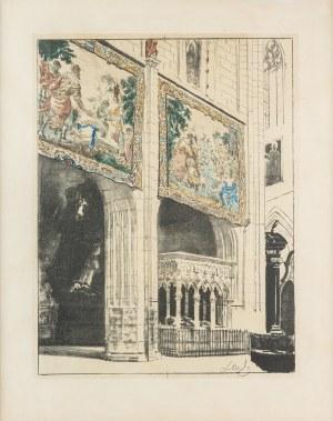 Wyczółkowski Leon (1852-1936), Wnętrze Katedry na Wawelu z Arrasami I, 1921