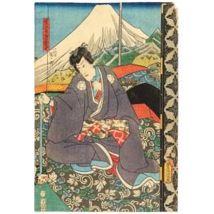 Utagawa Kunisada Ii (1823-1880), Aktor teatru kabuki na tle góry Fuji, 1852