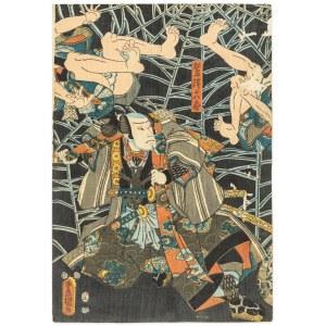 Utagawa Kunisada Ii (1823-1880), Samuraje w walce z pająkiem, 1853
