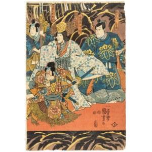Utagawa Kuniyoshi (1798-1861), Wymarsz samurajów. Aktorzy teatru kabuki, 1847-1853