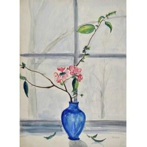 ANERI Irena Weissowa (1888-1981), Kwiaty pigwy w niebieskim wazonie, ok. 1935