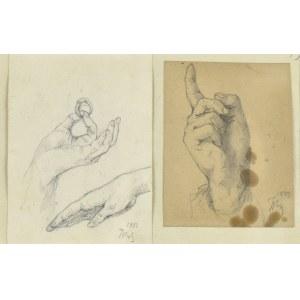 Tadeusz RYBKOWSKI (1848-1926), Zestaw dwóch prac ujęte w jedną oprawę – studia dłoni, 1887