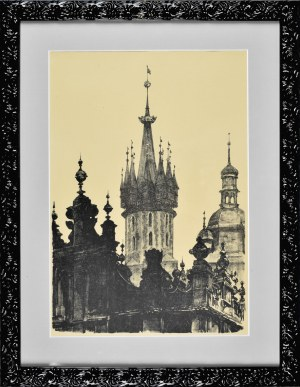 Jan Kanty GUMOWSKI (1883-1946), Szczyty Sukiennic i wieże kościoła Mariackiego, 1926