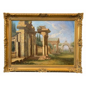 Edward Okuń (1872 - 1945), Pejzaż z rzymską budowlą