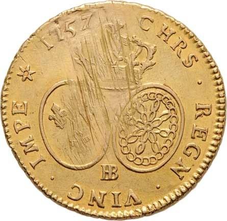 Francie, Ludvík XV., 1715 - 1774, 2 Luisdor 1757 BB, Strasbourgh, KM.519.4 (Au917,