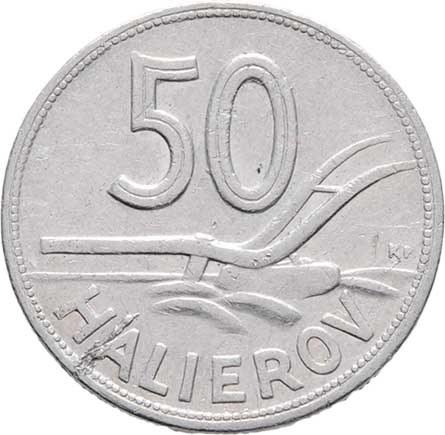 Slovenská republika, 1939 - 1945, 50 Haléř 1944, KM.5a (hliník), 0.992g, nep.hr.,