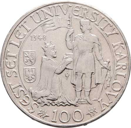 Československo 1945 - 1953, 100 Koruna 1948 - 600 let Karlovy university, KM.26