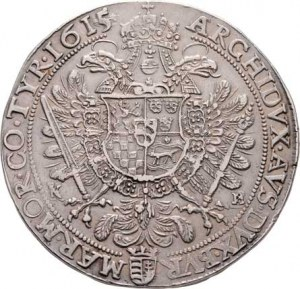 Matyáš II., 1608 - 1619, Tolar 1615 KB, Husz.1108, Hal.387, 28.547g,