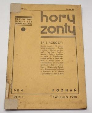 Horyzonty czasopismo młodzieży gimnazjalnej, Rok i nr 4 kwiecień 1938