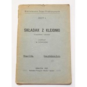 Mieczysław Sowiński, Składak z klejonki z rysunkami i planami