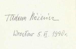 Tadeusz Różewicz, Poezje [autograf]