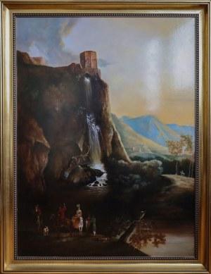 Hanna GOSZCZYŃSKA, XX / XXI w., Pejzaż z wodospadem / Pejzaż dla Huberta, 1994