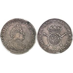 Louis XIV (1643-1715). Demi-écu de Flandre aux insignes, 1er type 1701, W, Lille.