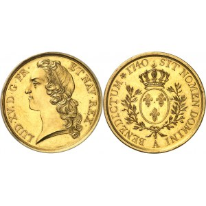 Louis XV (1715-1774). Épreuve en Or de l'écu au bandeau 1740, A, Paris.
