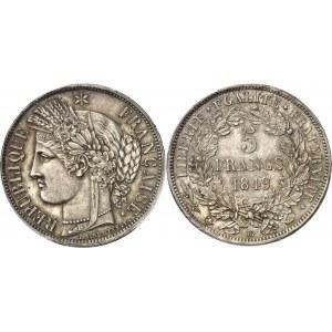 IIe République (1848-1852). 5 francs Cérès 1849, BB, Strasbourg.