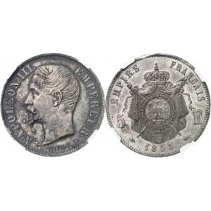 Second Empire - Napoléon III (1852-1870). Épreuve de 5 francs tête nue, en étain argenté 1853, Paris.