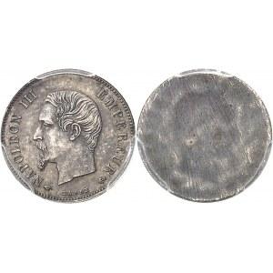 Second Empire - Napoléon III (1852-1870). Essai uniface d'avers de 20 centimes tête nue ND (1856), Paris.