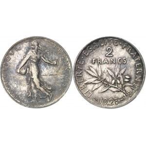 IIIe République (1870-1940). Piéfort de 2 francs Semeuse 1928, Paris.