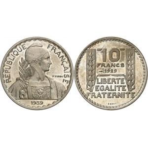 IIIe République (1870-1940). Essai de 10 francs Turin hybride de poids 10 g 1939, Paris.