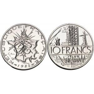 Ve République (1958 à nos jours). Piéfort de 10 francs Mathieu, Flan bruni (PROOF) 1984, Pessac.