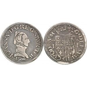 Béarn (Seigneurie de), Jeanne (1562-1572). Demi-teston à la tranche cannelée 1566, Pau.