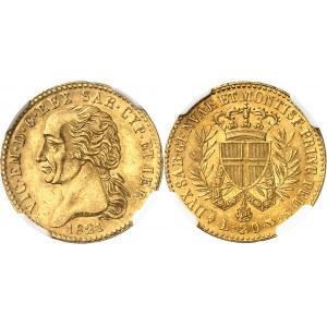 Savoie-Sardaigne, Victor-Emmanuel Ier (1814-1821). 20 lire, variété sans point après PRINC 1821, Turin.