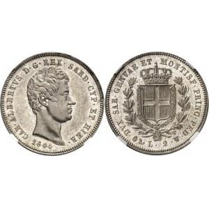 Savoie-Sardaigne, Charles-Albert (1831-1849). 2 lire 1844, Gênes.
