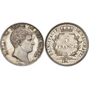 Neuchâtel (Principauté de), Alexandre Berthier (1806-1814). Épreuve de 5 francs à la date incomplète, frappe originale 181-(1813), Paris.