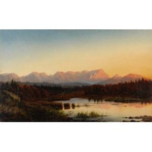 Willibald WEX (1831-1892), Pejzaż z górami i jeziorem