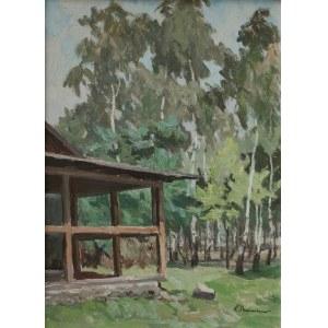Zenobiusz Poduszko (1887-1963) Weranda na tle brzeziny