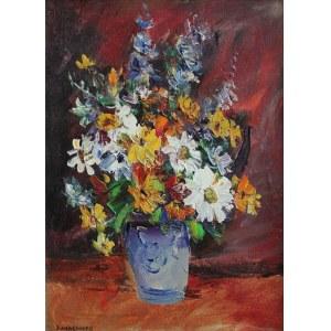 Józef Wasiołek (1921-2008) Kwiaty w niebieskim wazonie